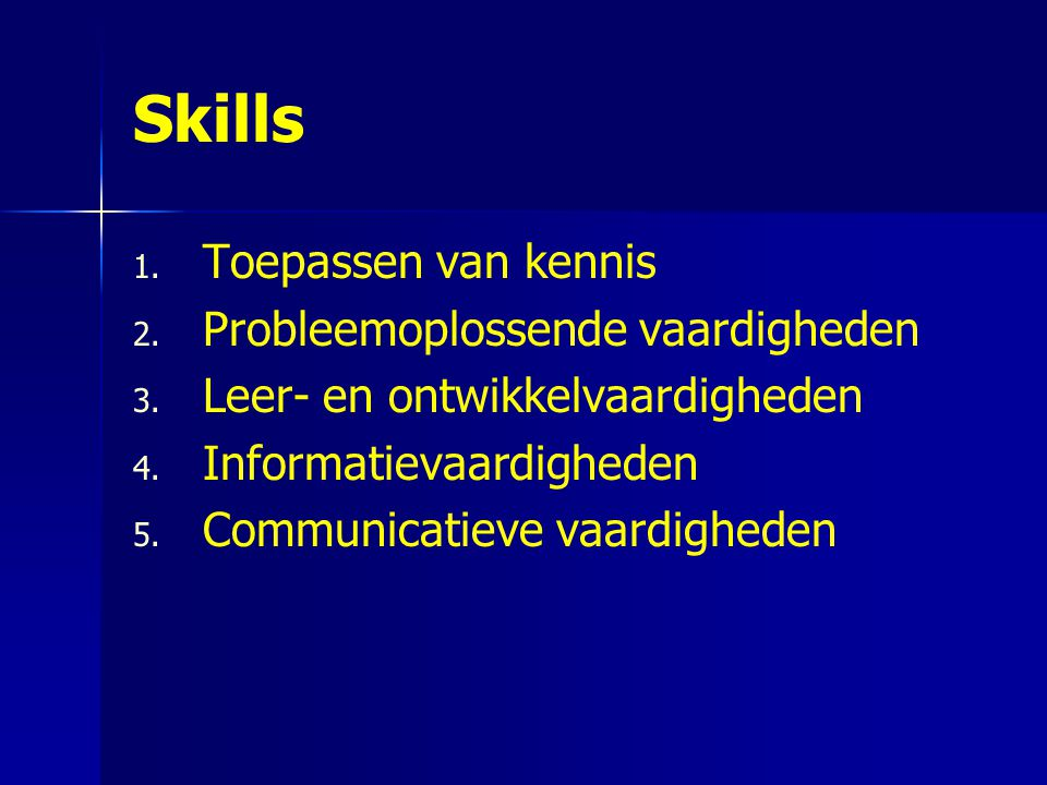 Skills Toepassen van kennis Probleemoplossende vaardigheden