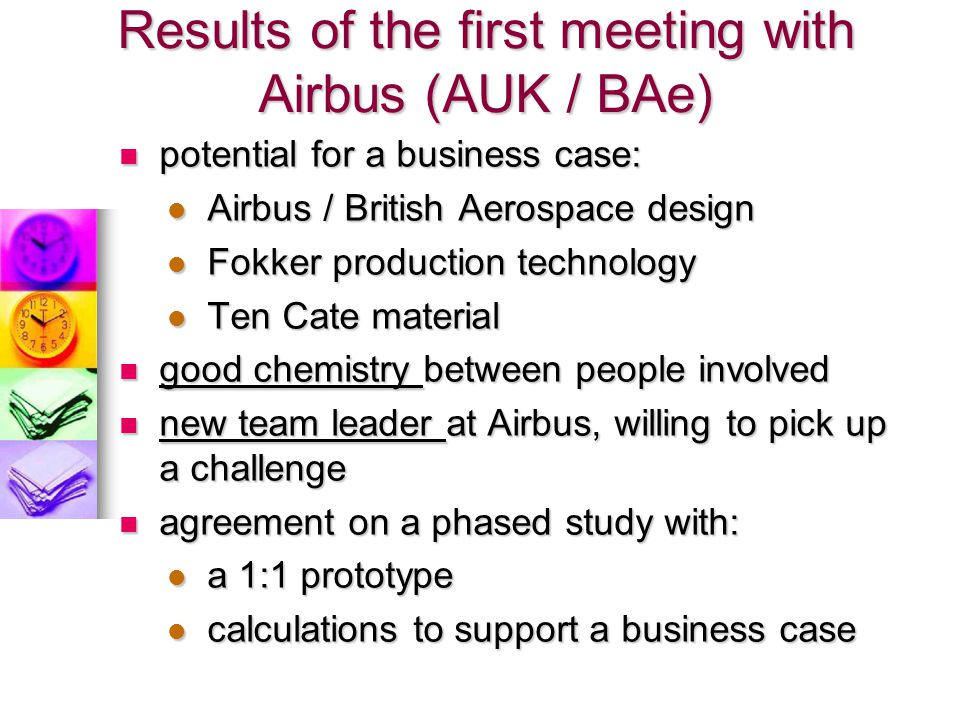 Results of the first meeting with Airbus (AUK / BAe)