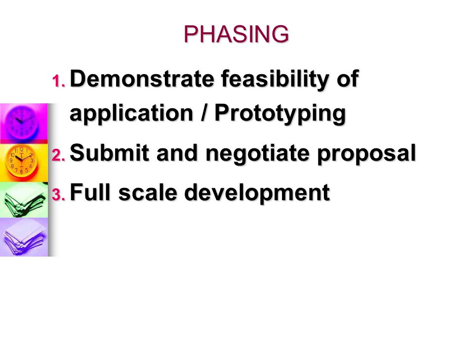 PHASING Demonstrate feasibility of application / Prototyping.