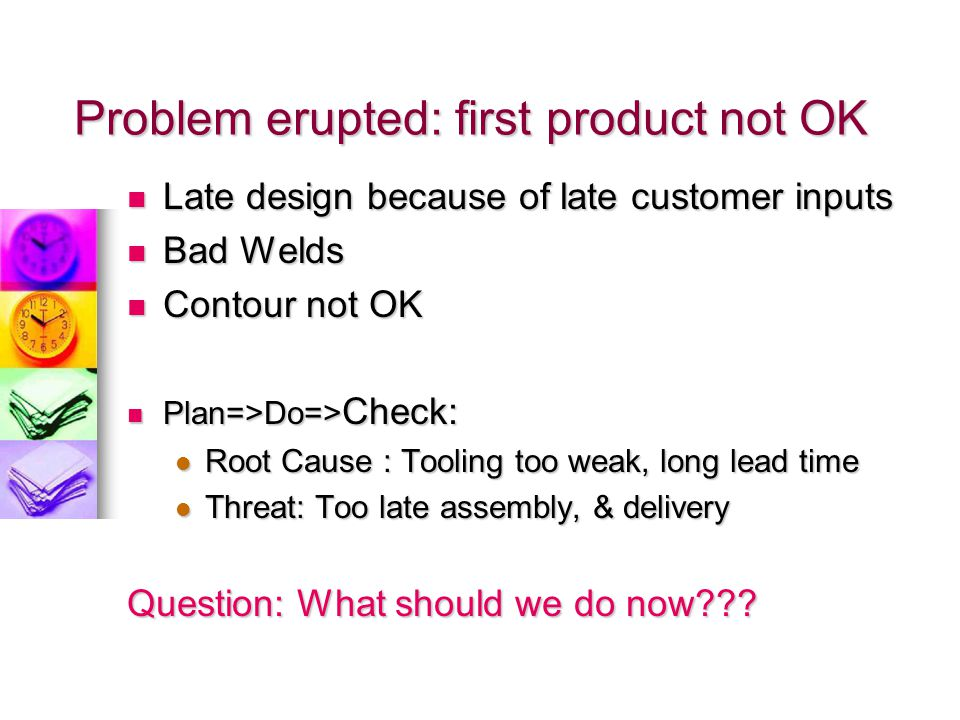 Problem erupted: first product not OK