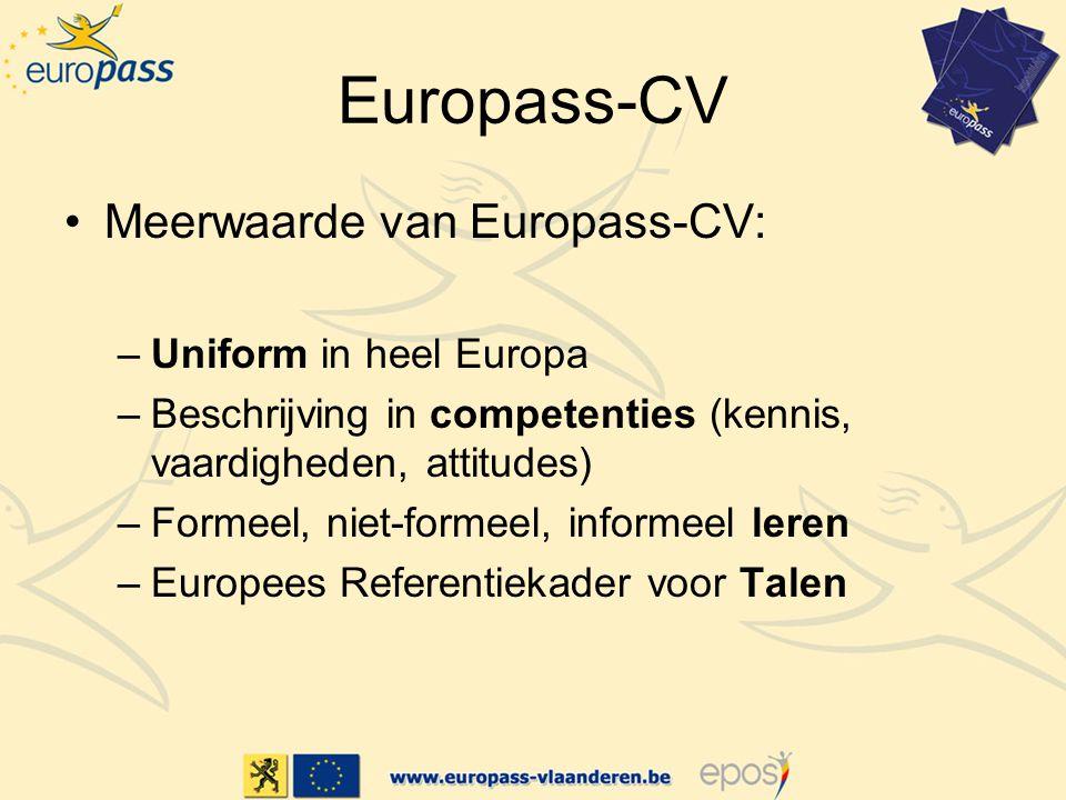 Europass-CV Meerwaarde van Europass-CV: Uniform in heel Europa