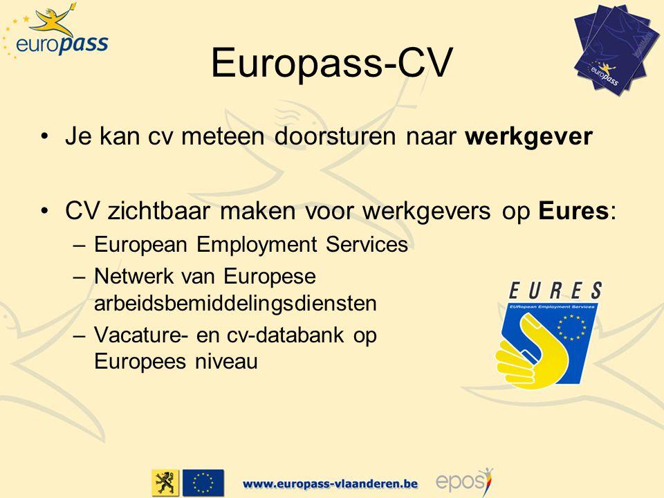 Europass-CV Je kan cv meteen doorsturen naar werkgever