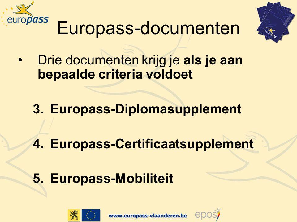 Europass-documenten Drie documenten krijg je als je aan bepaalde criteria voldoet. Europass-Diplomasupplement.