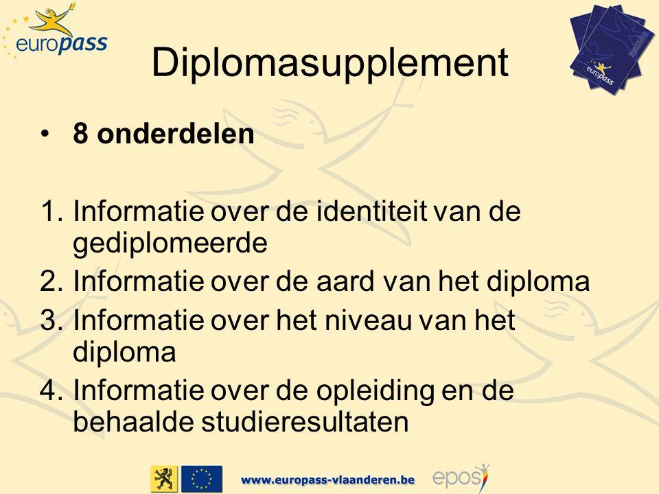 Diplomasupplement 8 onderdelen
