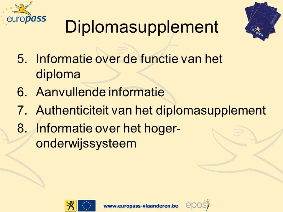 Diplomasupplement Informatie over de functie van het diploma
