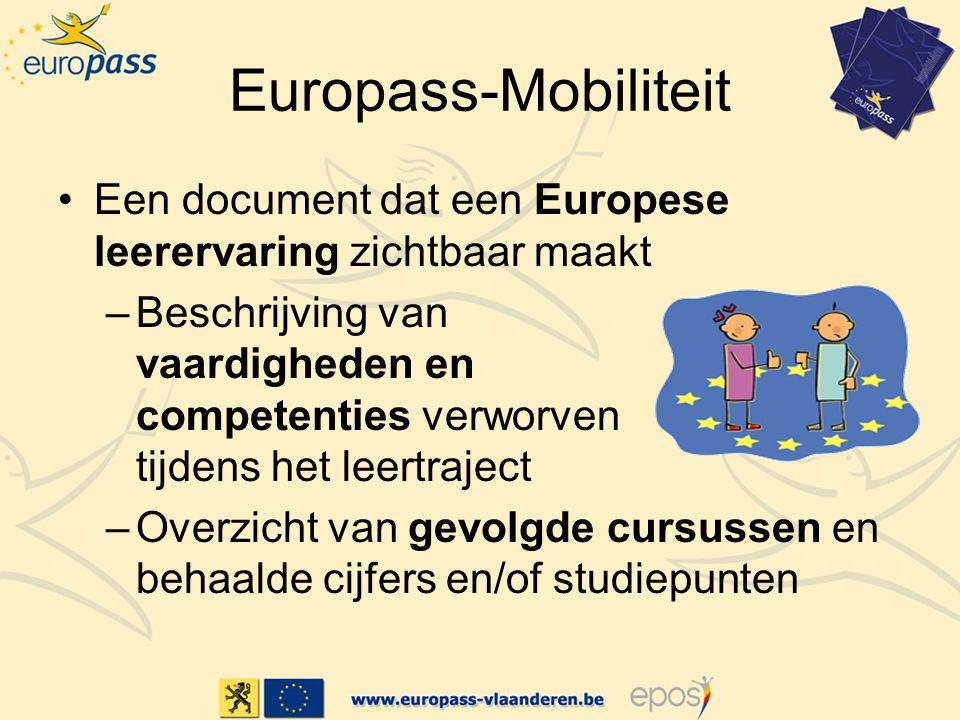 Europass-Mobiliteit Een document dat een Europese leerervaring zichtbaar maakt.