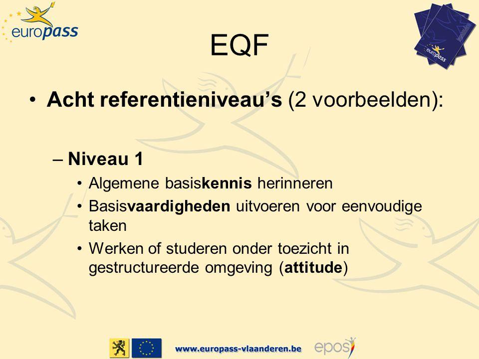 EQF Acht referentieniveau's (2 voorbeelden): Niveau 1