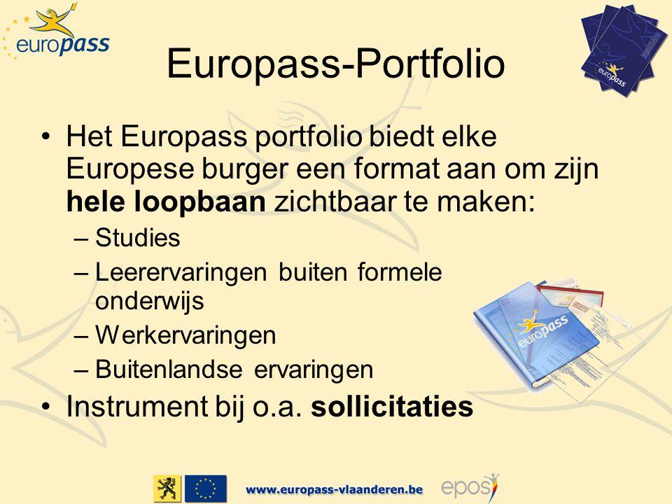 Europass-Portfolio Het Europass portfolio biedt elke Europese burger een format aan om zijn hele loopbaan zichtbaar te maken: