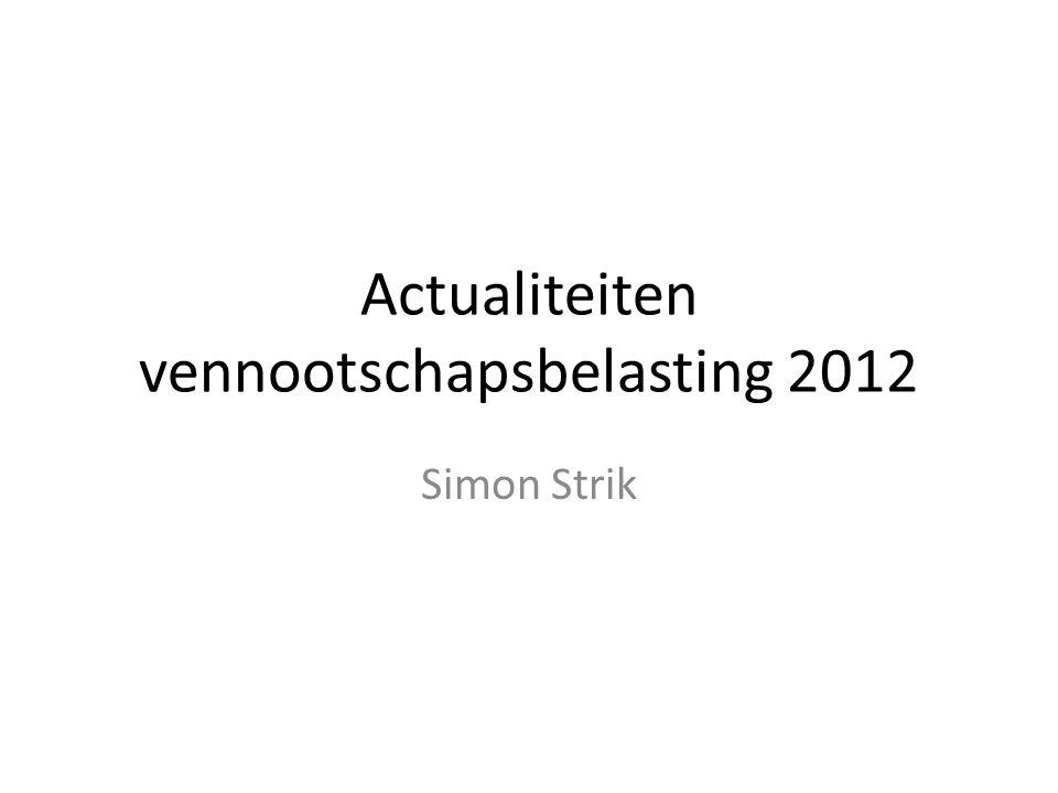 Actualiteiten vennootschapsbelasting 2012