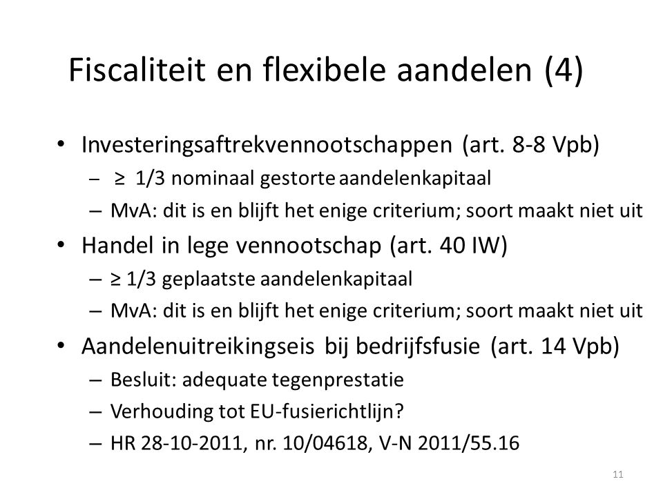 Fiscaliteit en flexibele aandelen (4)
