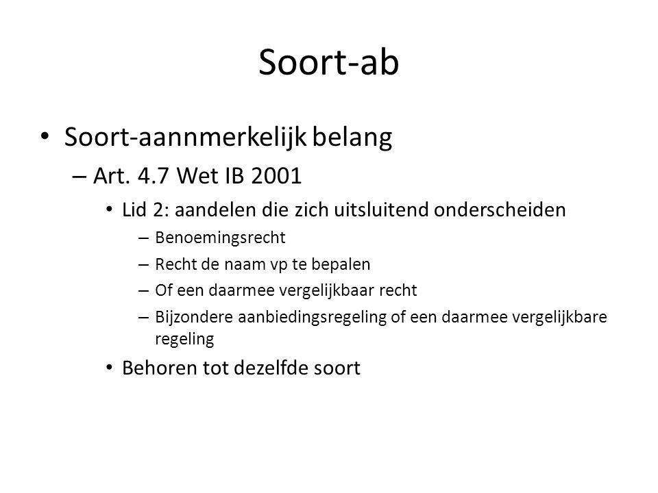 Soort-ab Soort-aannmerkelijk belang Art. 4.7 Wet IB 2001