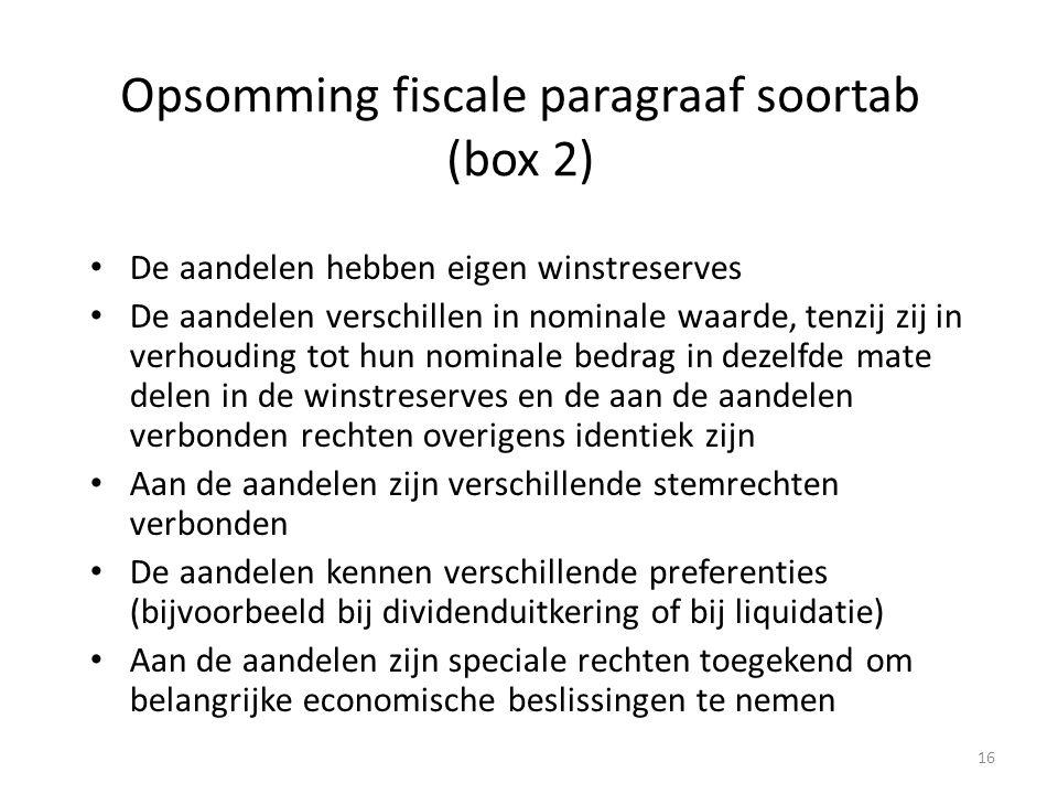 Opsomming fiscale paragraaf soortab (box 2)