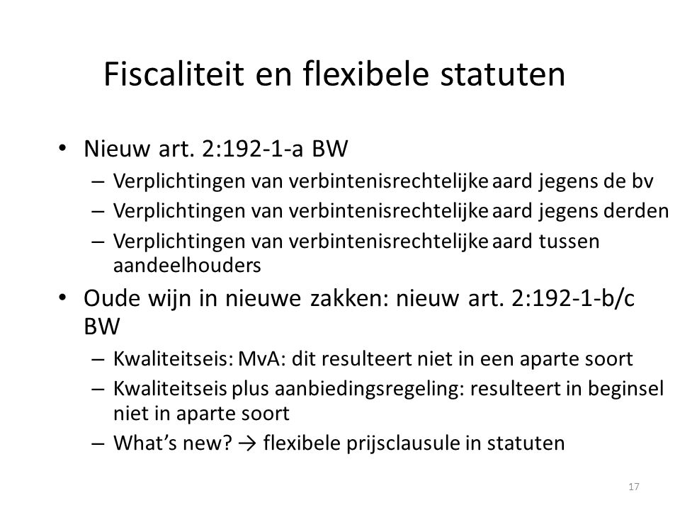 Fiscaliteit en flexibele statuten