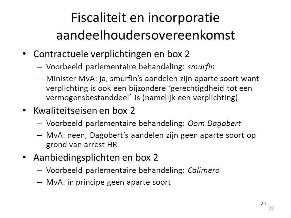 Fiscaliteit en incorporatie aandeelhoudersovereenkomst