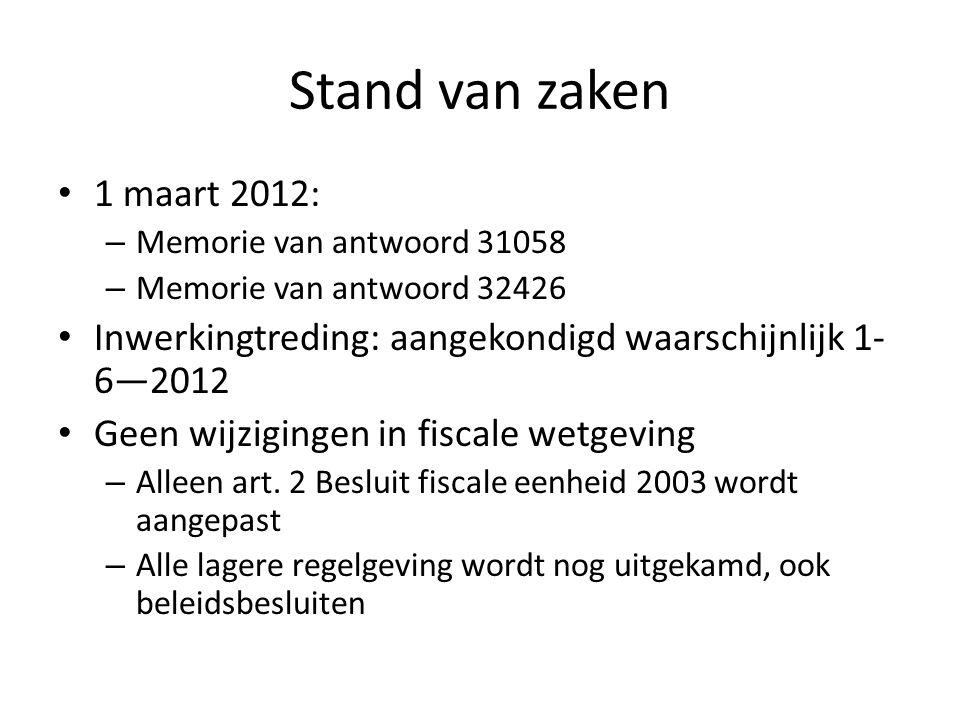 Stand van zaken 1 maart 2012: Memorie van antwoord 31058. Memorie van antwoord 32426. Inwerkingtreding: aangekondigd waarschijnlijk 1-6—2012.