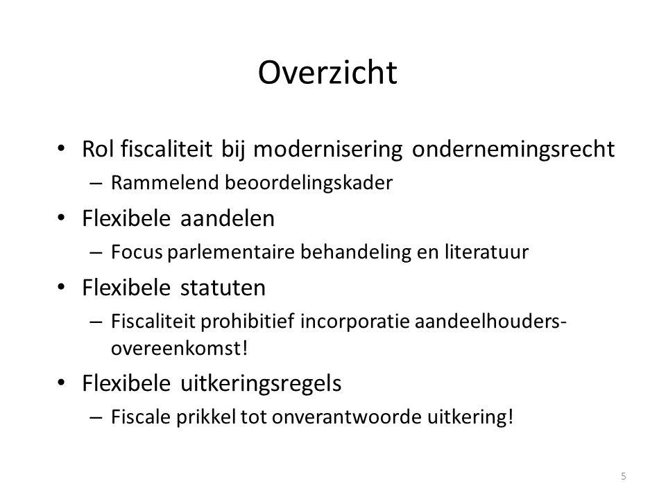 Overzicht Rol fiscaliteit bij modernisering ondernemingsrecht