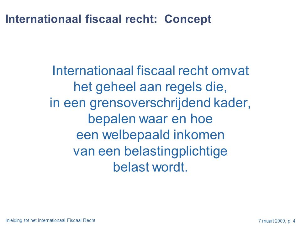 Internationaal fiscaal recht: Concept