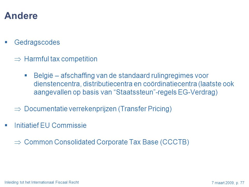 Andere Gedragscodes Harmful tax competition