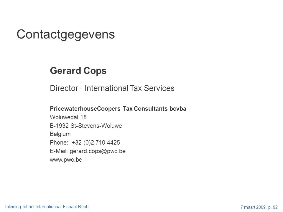Contactgegevens Gerard Cops Director - International Tax Services