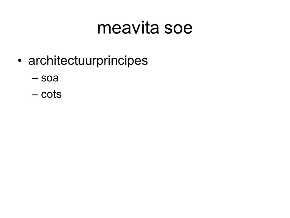 meavita soe architectuurprincipes soa cots