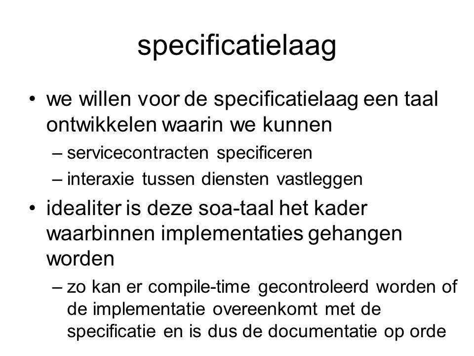 specificatielaag we willen voor de specificatielaag een taal ontwikkelen waarin we kunnen. servicecontracten specificeren.