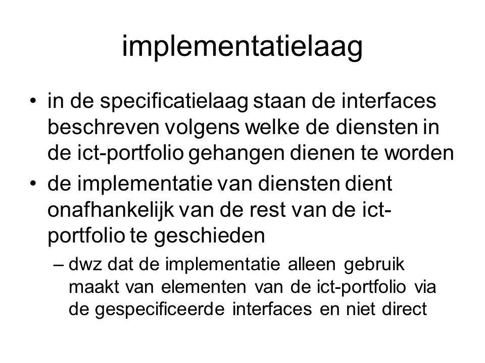 implementatielaag in de specificatielaag staan de interfaces beschreven volgens welke de diensten in de ict-portfolio gehangen dienen te worden.