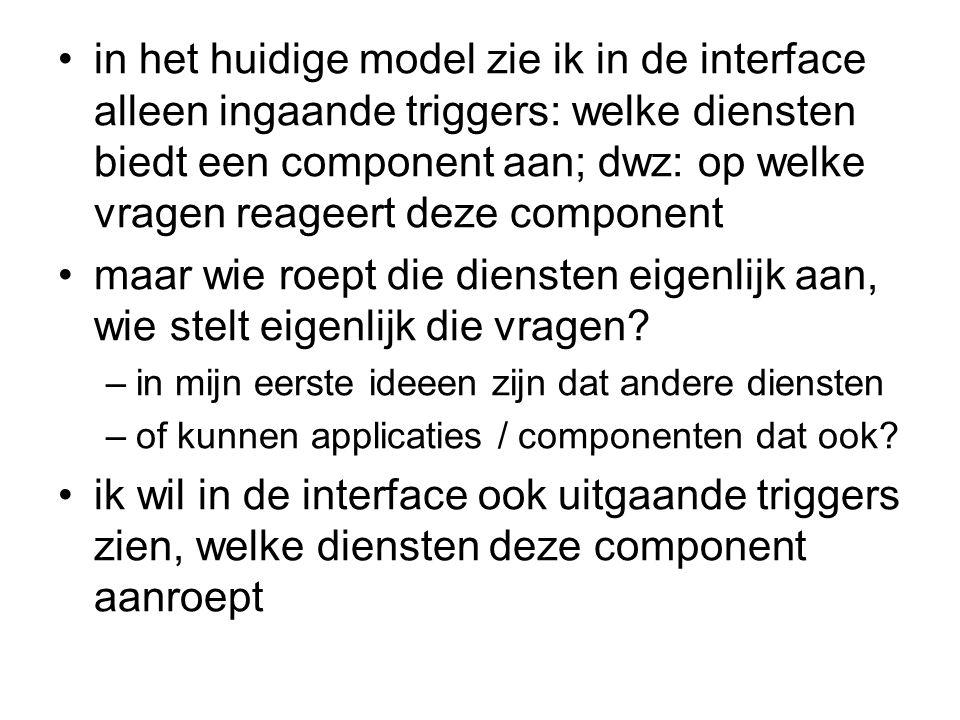 in het huidige model zie ik in de interface alleen ingaande triggers: welke diensten biedt een component aan; dwz: op welke vragen reageert deze component
