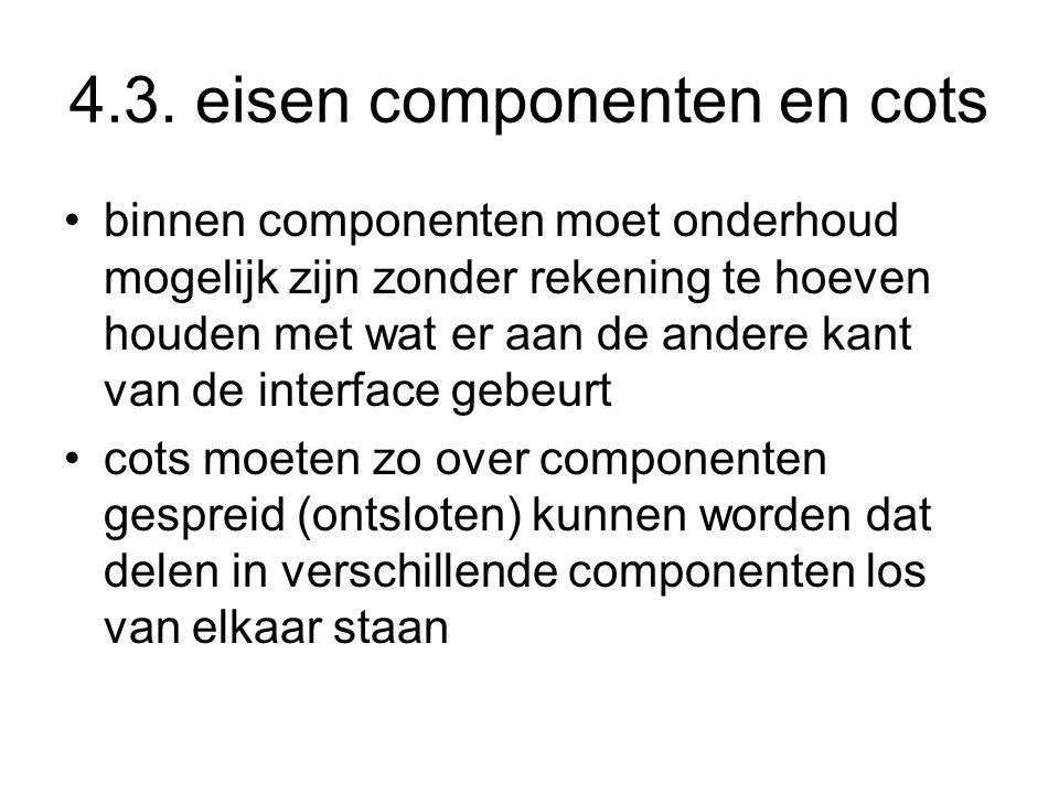 4.3. eisen componenten en cots