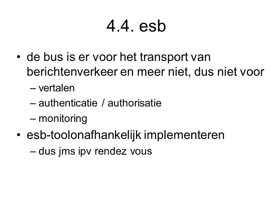 4.4. esb de bus is er voor het transport van berichtenverkeer en meer niet, dus niet voor. vertalen.