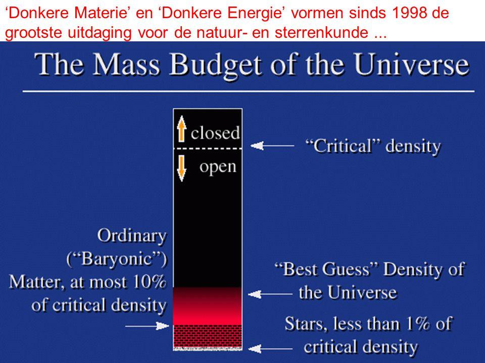 'Donkere Materie' en 'Donkere Energie' vormen sinds 1998 de grootste uitdaging voor de natuur- en sterrenkunde ...