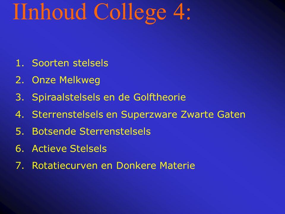 IInhoud College 4: Soorten stelsels Onze Melkweg