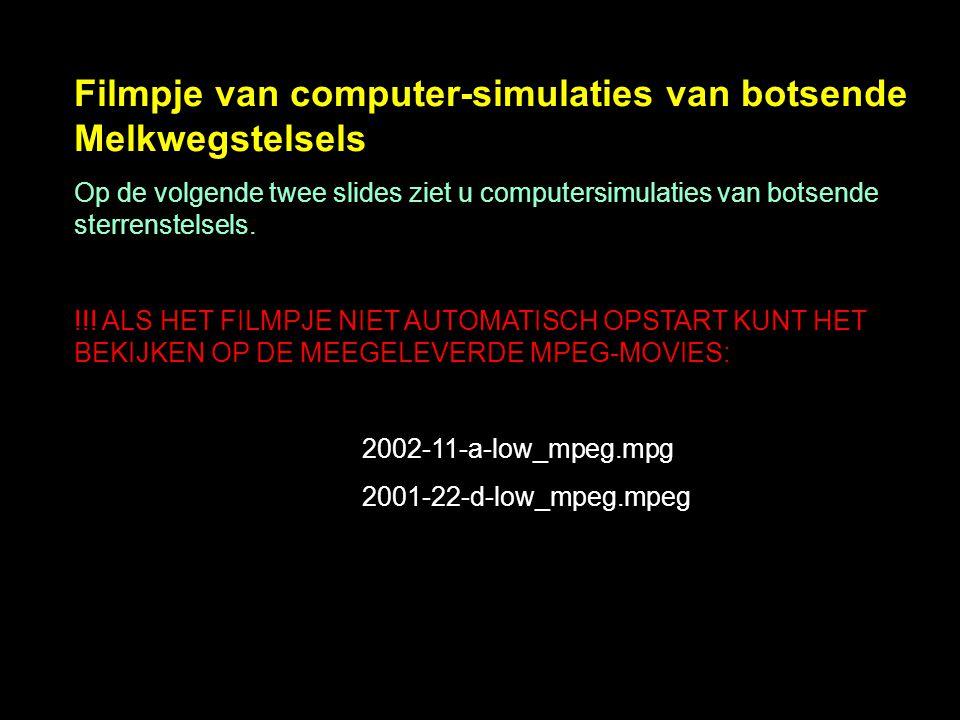 Filmpje van computer-simulaties van botsende Melkwegstelsels