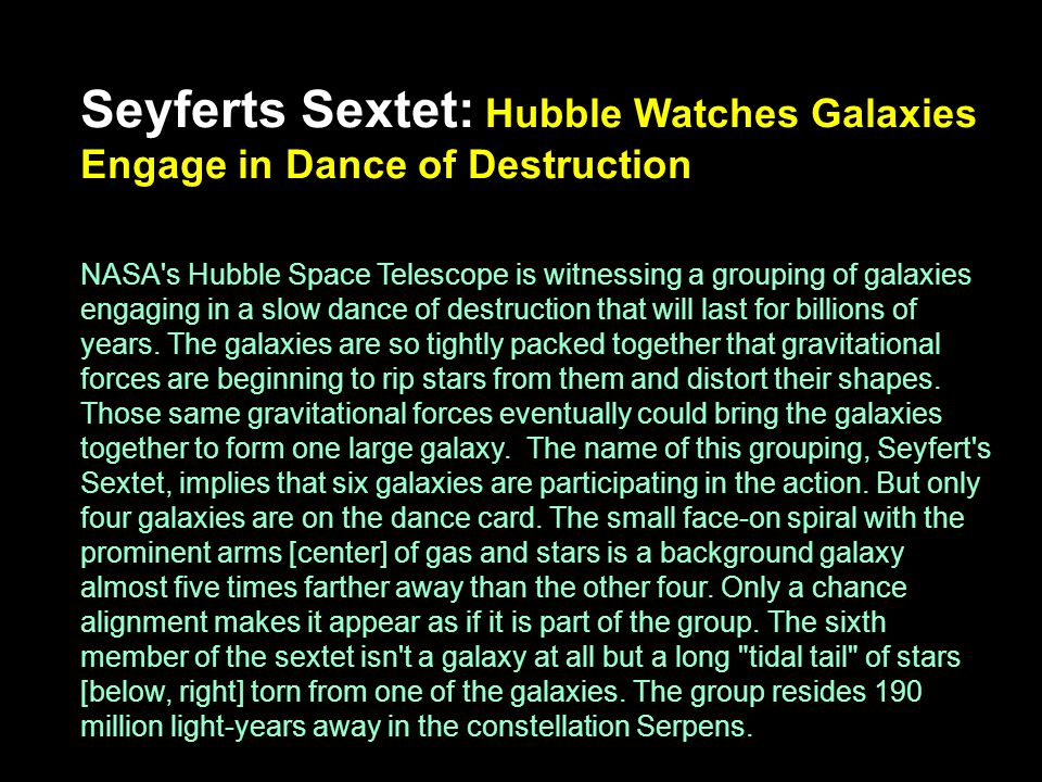 Seyferts Sextet: Hubble Watches Galaxies Engage in Dance of Destruction