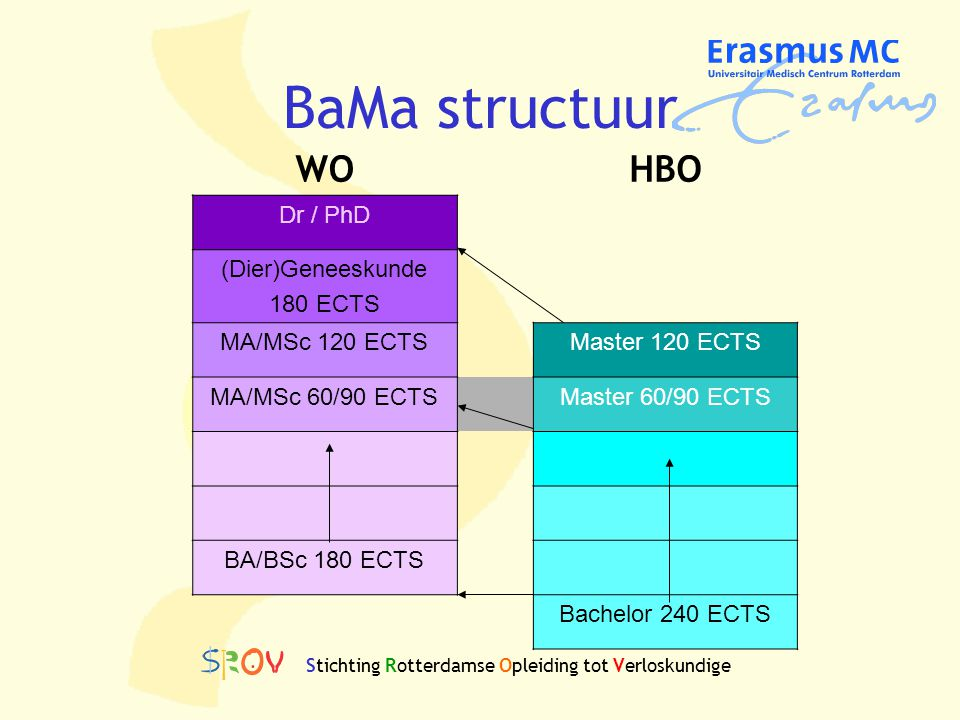BaMa structuur WO HBO Dr / PhD (Dier)Geneeskunde 180 ECTS