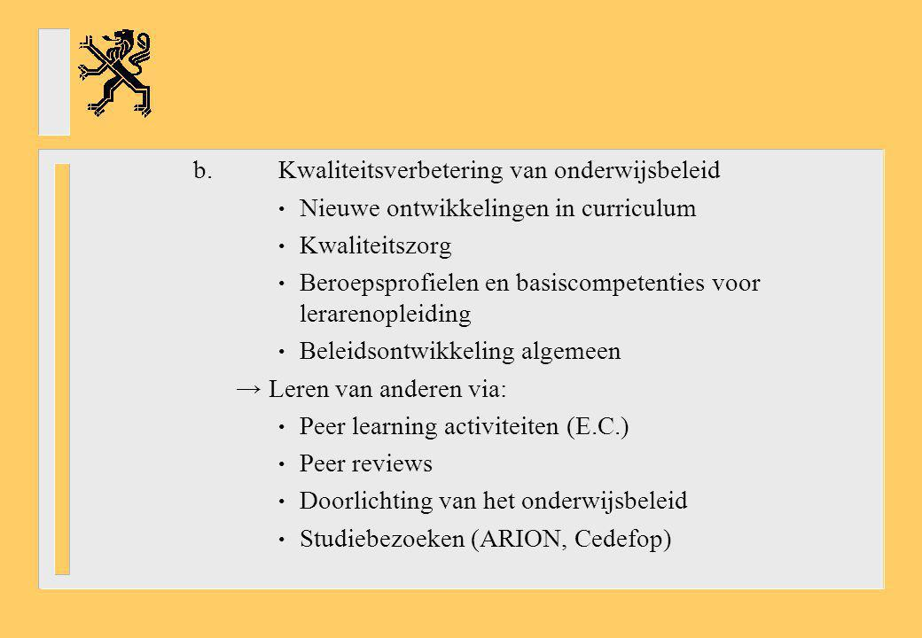b. Kwaliteitsverbetering van onderwijsbeleid