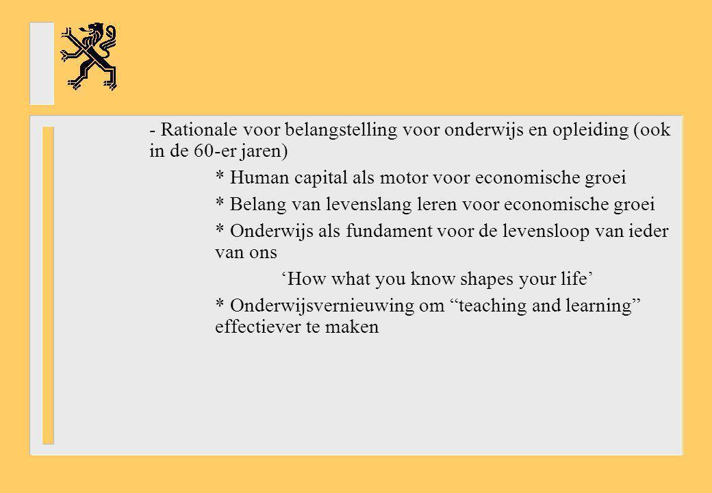- Rationale voor belangstelling voor onderwijs en opleiding (ook