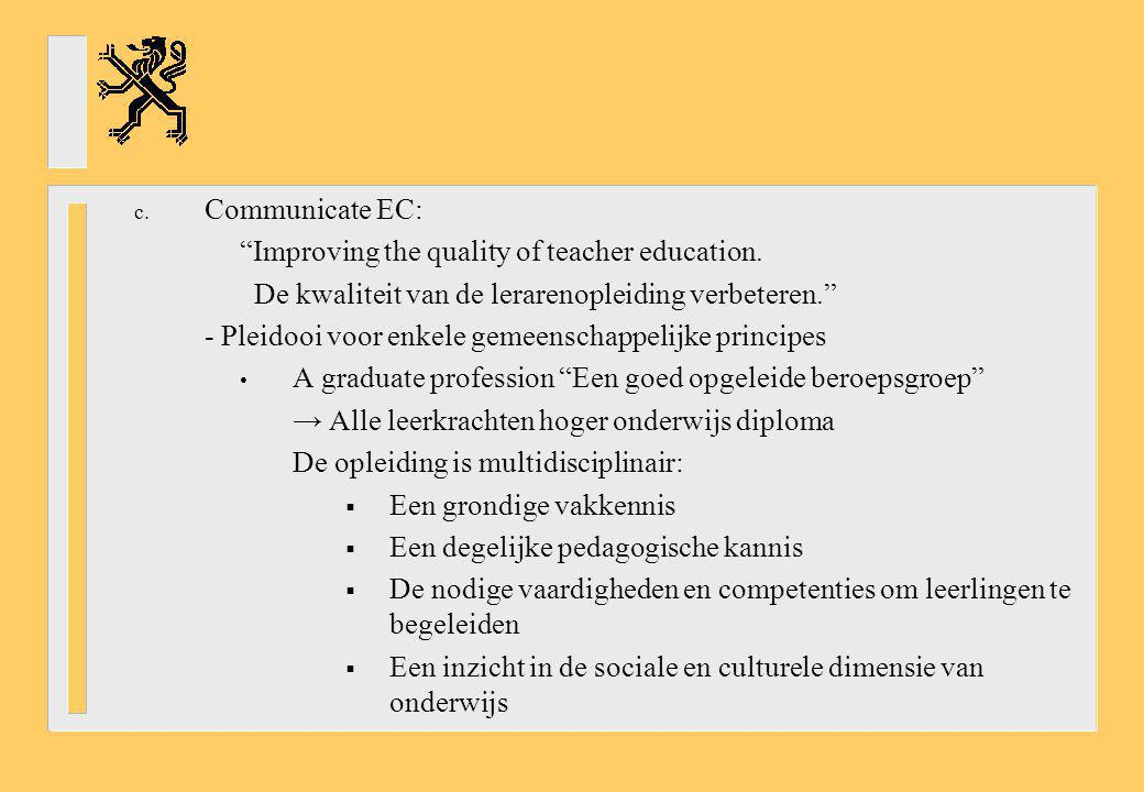 Communicate EC: Improving the quality of teacher education. De kwaliteit van de lerarenopleiding verbeteren.