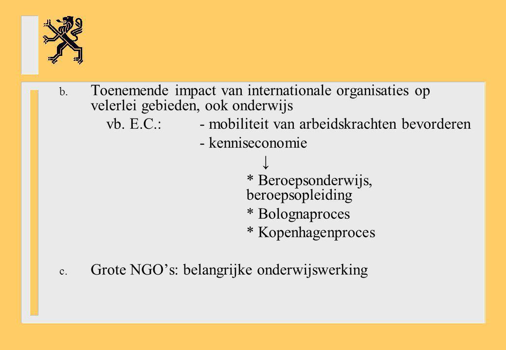 Toenemende impact van internationale organisaties op velerlei gebieden, ook onderwijs