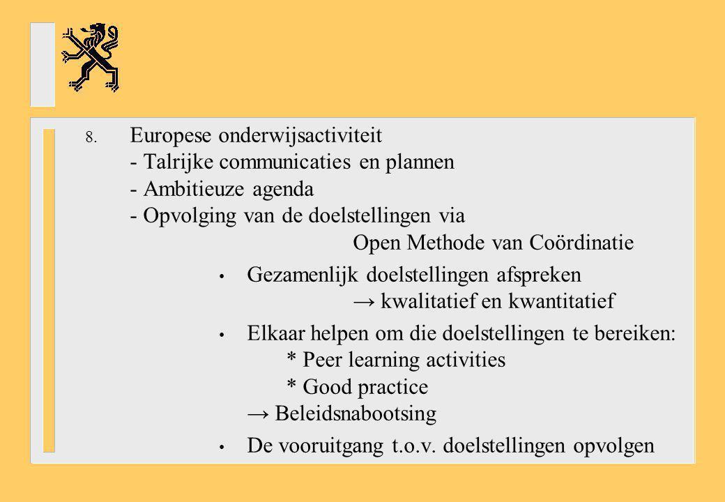 Europese onderwijsactiviteit - Talrijke communicaties en plannen - Ambitieuze agenda - Opvolging van de doelstellingen via Open Methode van Coördinatie