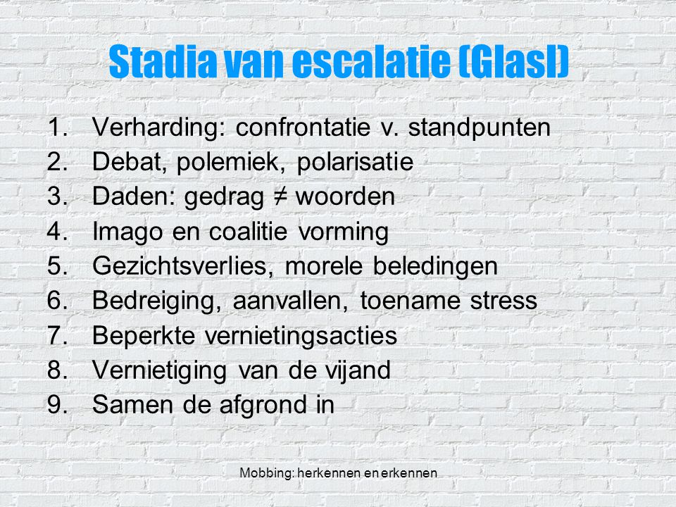 Stadia van escalatie (Glasl)
