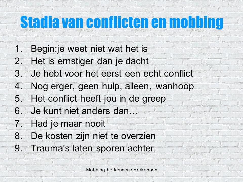 Stadia van conflicten en mobbing