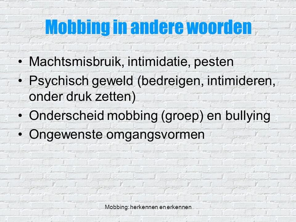 Mobbing in andere woorden