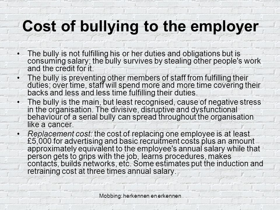 Cost of bullying to the employer
