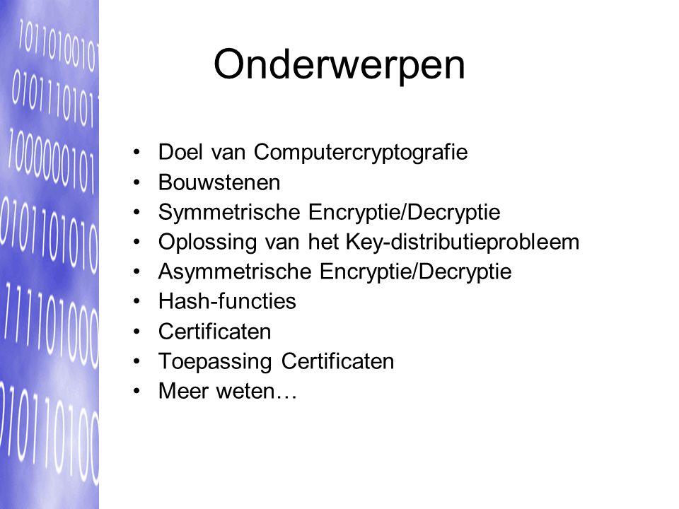 Onderwerpen Doel van Computercryptografie Bouwstenen
