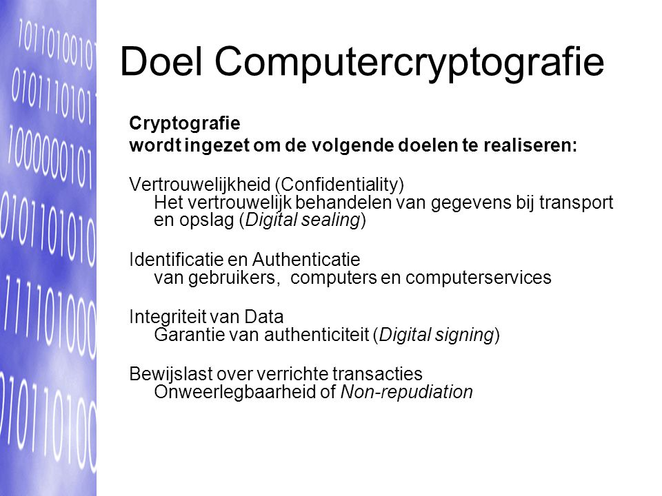 Doel Computercryptografie