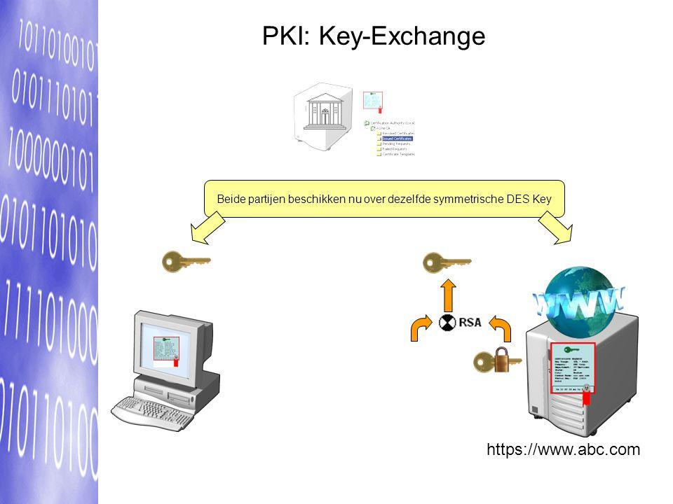 Beide partijen beschikken nu over dezelfde symmetrische DES Key