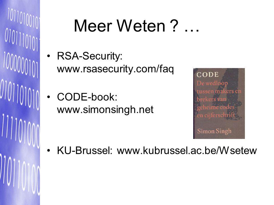 Meer Weten … RSA-Security: www.rsasecurity.com/faq