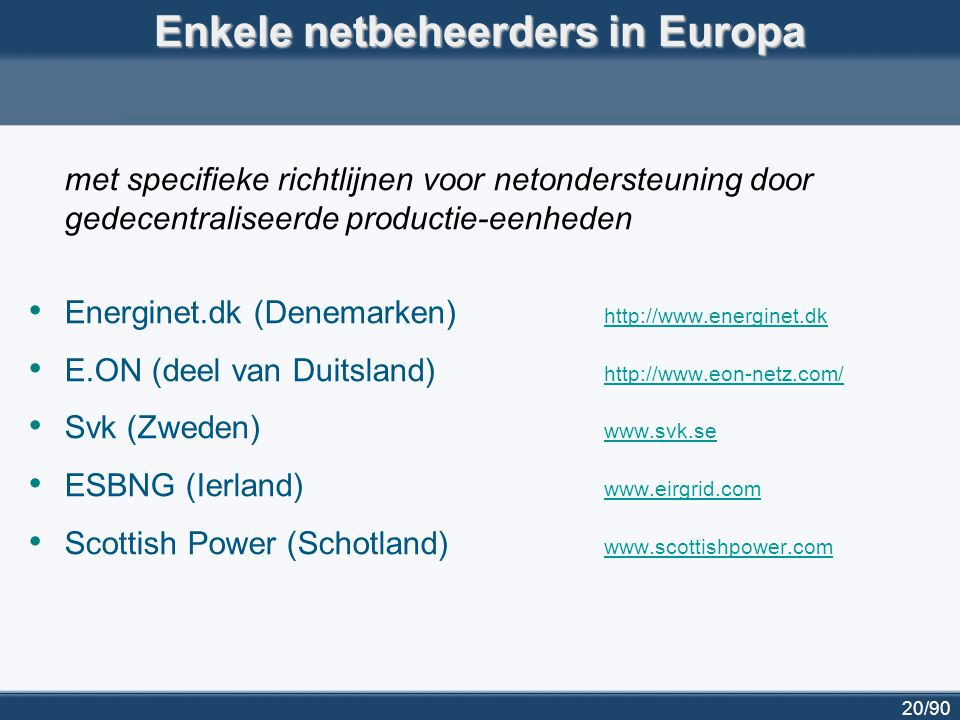 Enkele netbeheerders in Europa