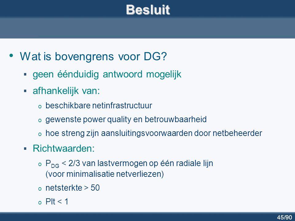 Besluit Wat is bovengrens voor DG geen éénduidig antwoord mogelijk