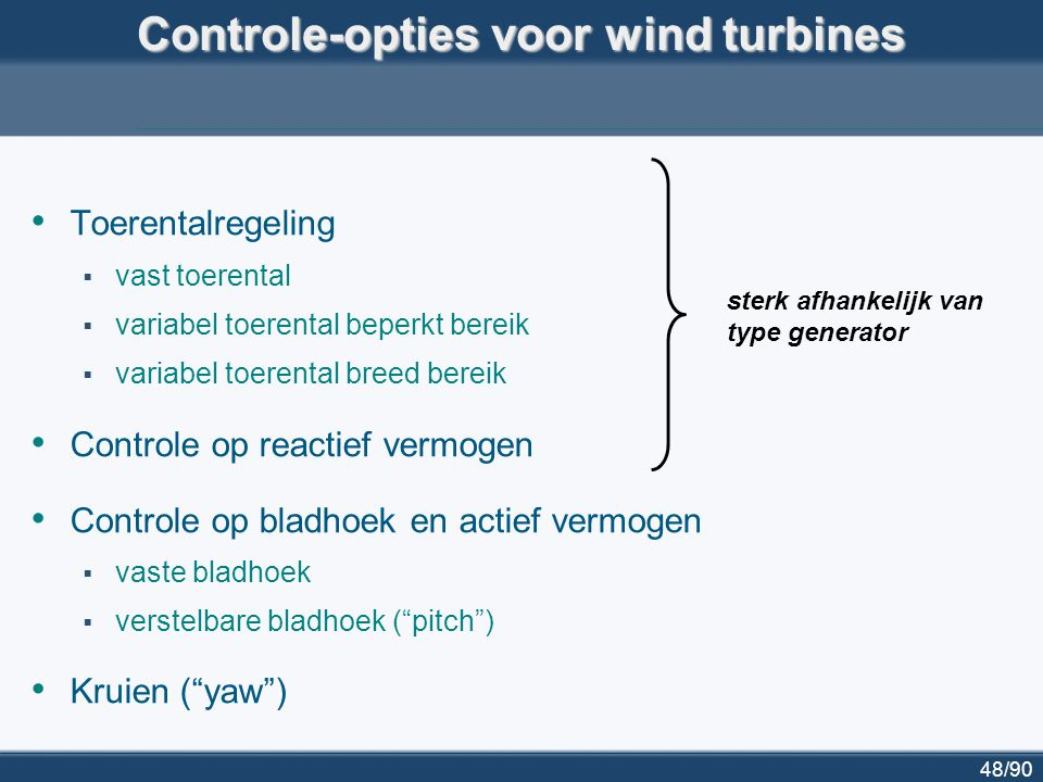 Controle-opties voor wind turbines